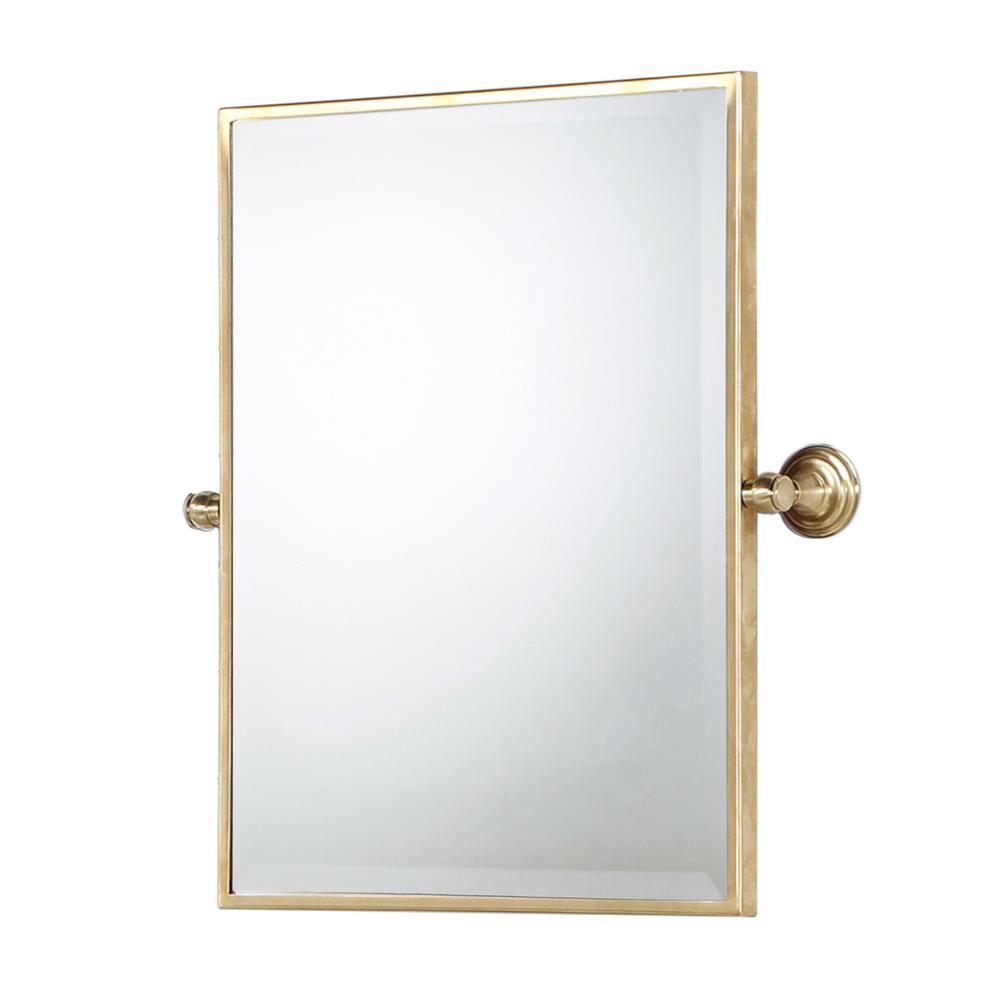 Water Creation 18 in. W x 24 in. H Frameless Rectangular Metal Bathroom Vanity Mirror in Satin Gold