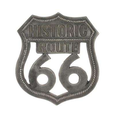 12 in. x 10 in. Aluminum Pewter Route 66 Wall Art