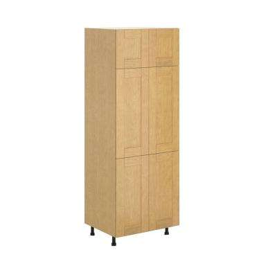 Milano Ready to Assemble 30 x 83.5 x 24.5 in. Pantry/Utility Cabinet in Maple Melamine and Door in Clear Varnish