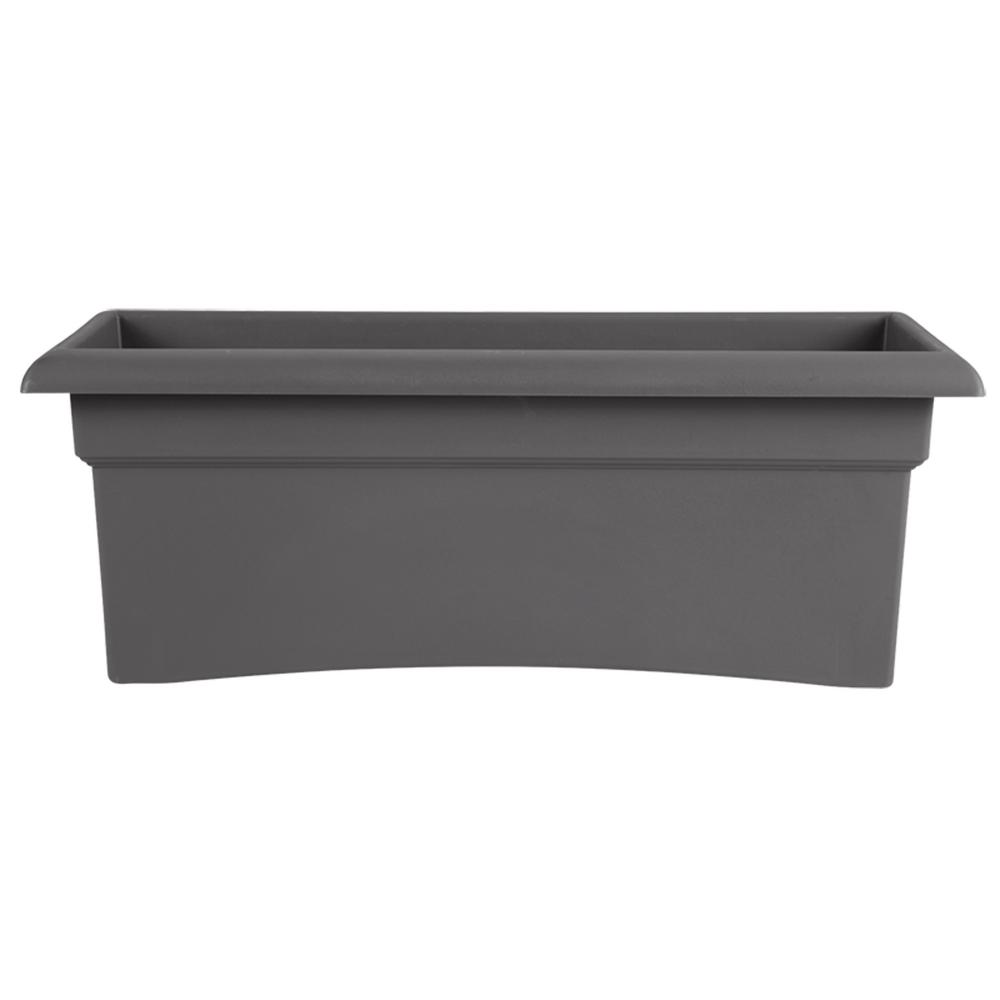 Bloem Veranda 26 in. x 11 in. x 10 in. Charcoal Plastic Window Deck Box Planter