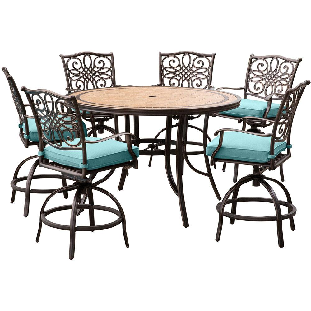 hanover monaco 7 piece aluminum round outdoor bar height dining set with tile top table and blue. Black Bedroom Furniture Sets. Home Design Ideas
