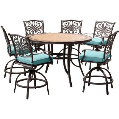 Monaco 7-Piece Aluminum Round Outdoor High Dining Set with Tile-top Table and Blue Cushions