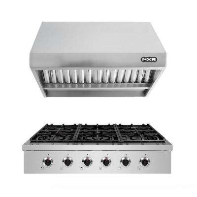 36 in. Pro-Style Gas Cooktop in Stainless Steel with 6 Burners and Range Hood