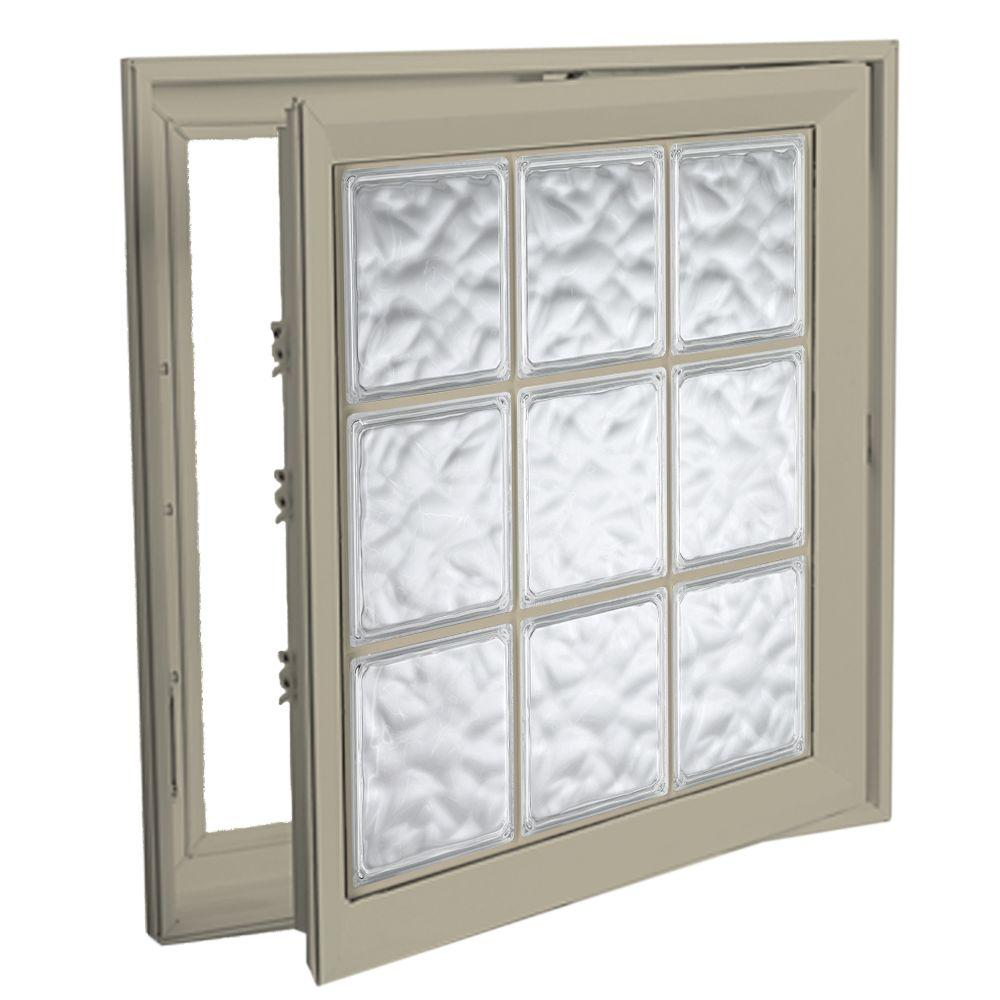 Hy-Lite 21 in. x 53 in. Acrylic Block Right Casement Vinyl Window - Tan