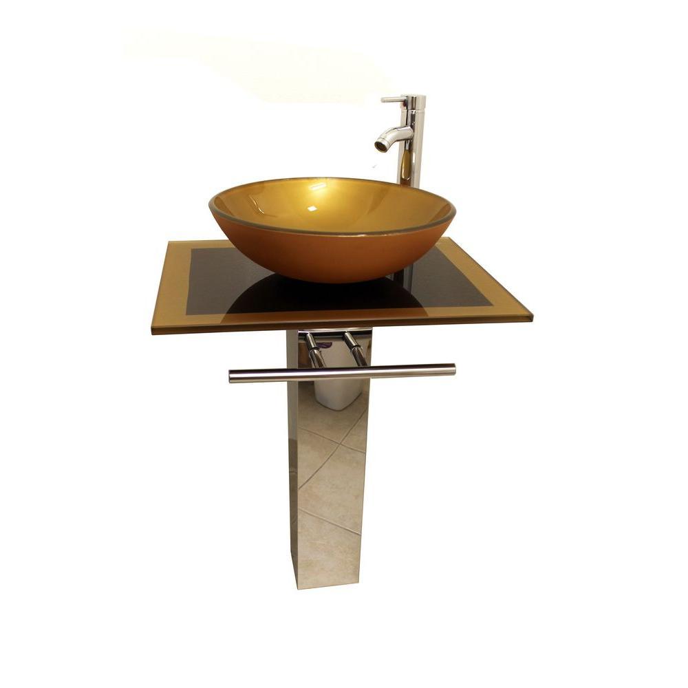 Parvati Pedestal Combo Bathroom Sink in Mustard Gold