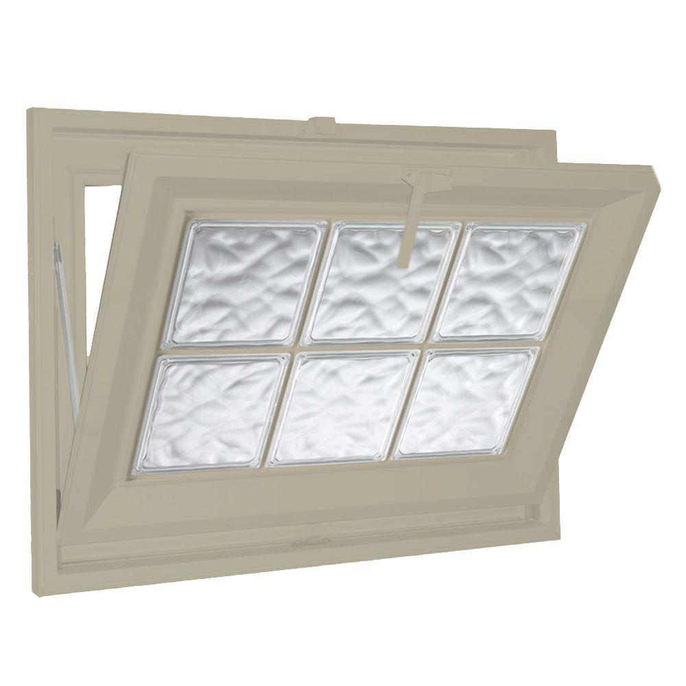 American craftsman 31 in x 19 in 70 series sliding white for Glass block window frame