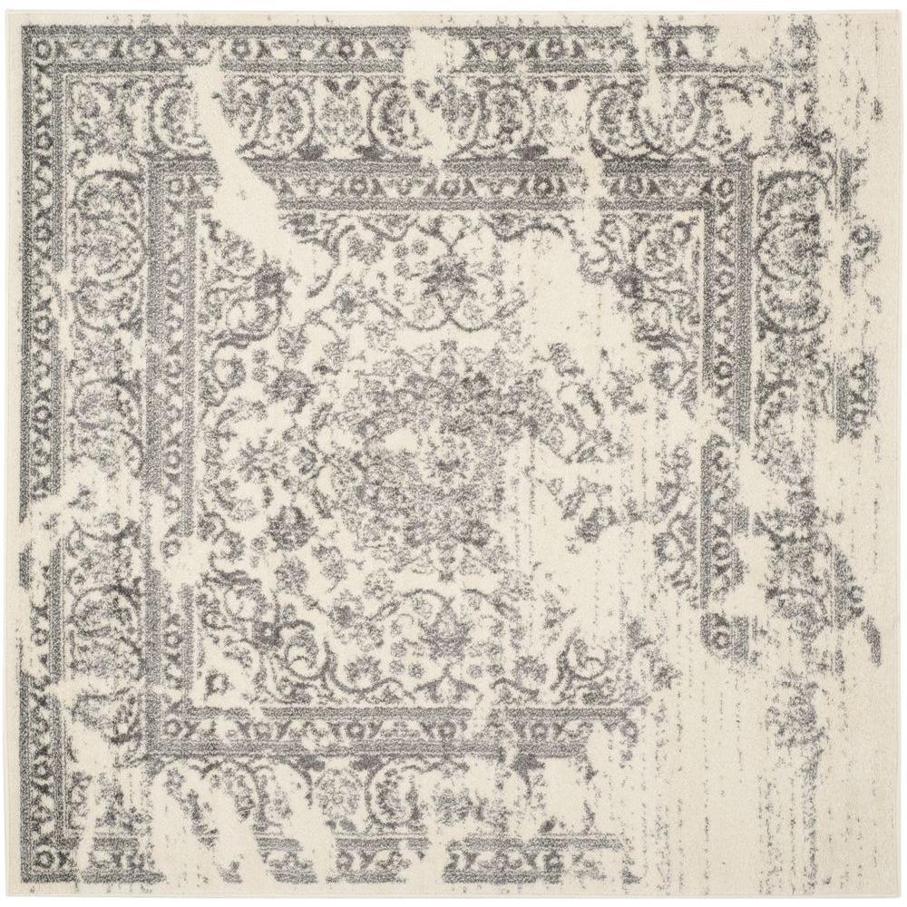 adirondack ivorysilver 6 ft x 6 ft square area rug - Square Area Rugs