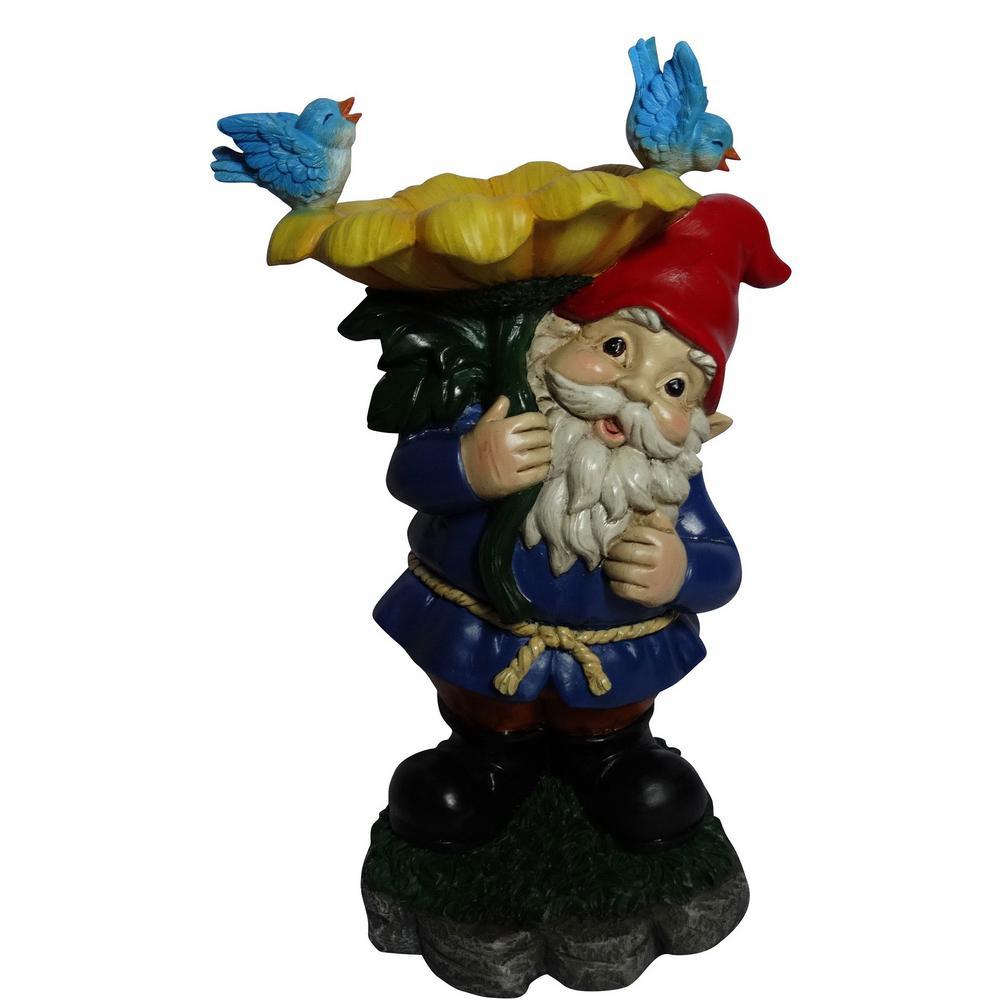 Alpine Gnome With Flower Birdbath Statue