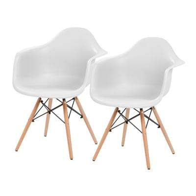 White Plastic Shell Chair with Arm Rest (Set of 2)