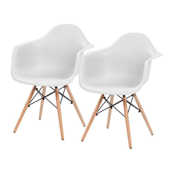 White Plastic Shell Chair With Arm Rest Set Of 2