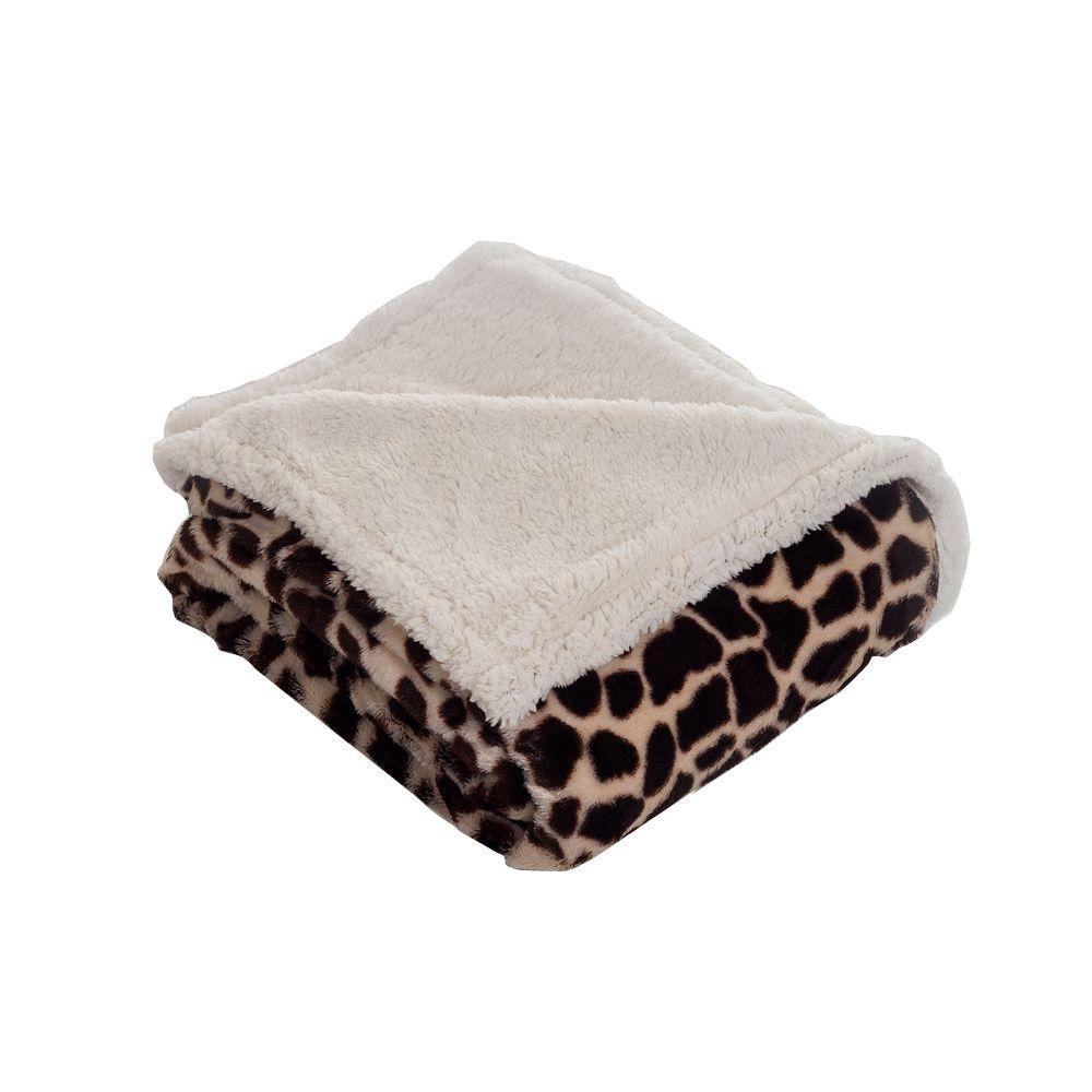 Lavish Home Giraffe Fleece Sherpa Polyester Throw Blanket 61-00005
