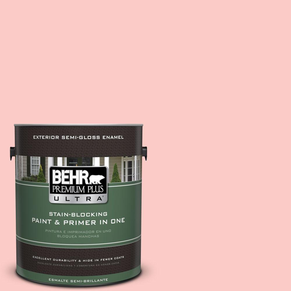 BEHR Premium Plus Ultra 1-gal. #170A-2 Strawberry Mousse Semi-Gloss Enamel Exterior Paint