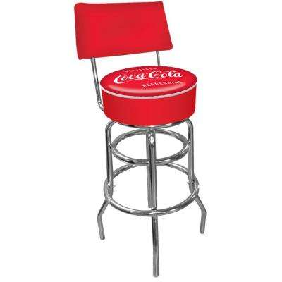Coca Cola Vintage 30 in. Chrome Swivel Cushioned Bar Stool