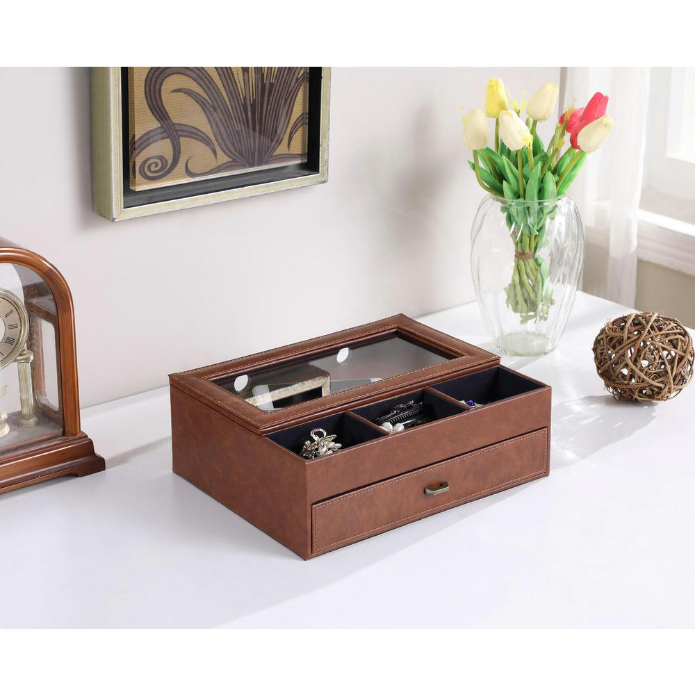 12 in. Brown Leather Tempered Glass Men Valet Box
