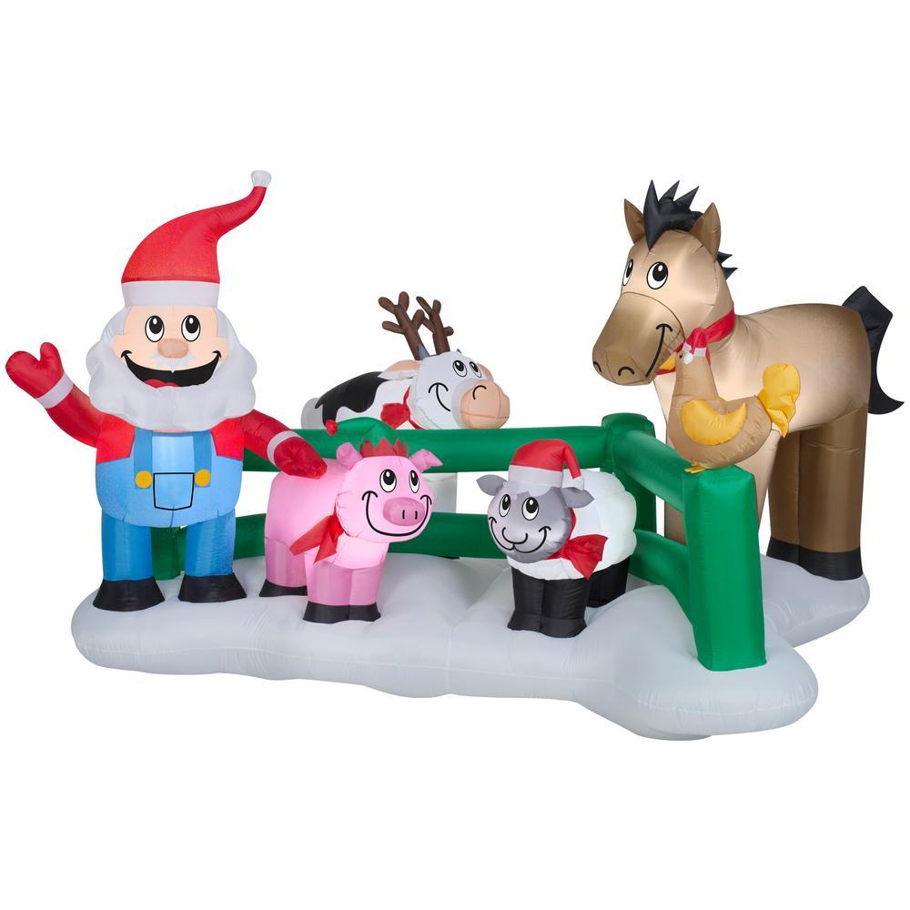 8.99 ft. W Pre-lit Inflatable Santa's Farm Airblown Scene
