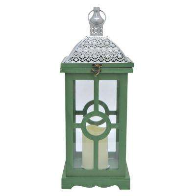 7.5 in. x 7.5 in. Green Wood/Metal Lantern with LED Candle