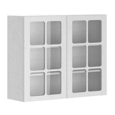 Odessa Ready to Assemble 36 x 30 x 12.5 in. Wall Cabinet in White Melamine and Glass Door in White