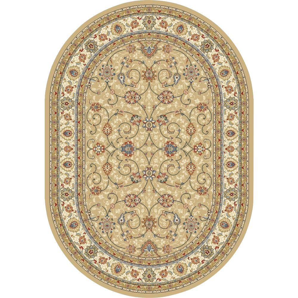 Vaughan Light Gold Ivory 3 Ft X 5 Ft Oval Indoor Area