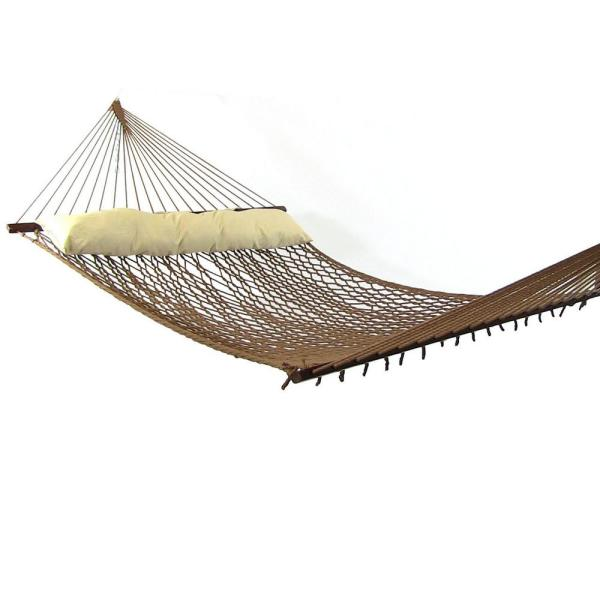 12 ft. Polyester Rope Hammock Bed with Spreader Bars in Brown