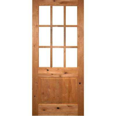 36 in. x 96 in. Craftsman 9-Lite Clear Beveled Glass Right-Hand Inswing Unfinished Knotty Alder Prehung Front Door