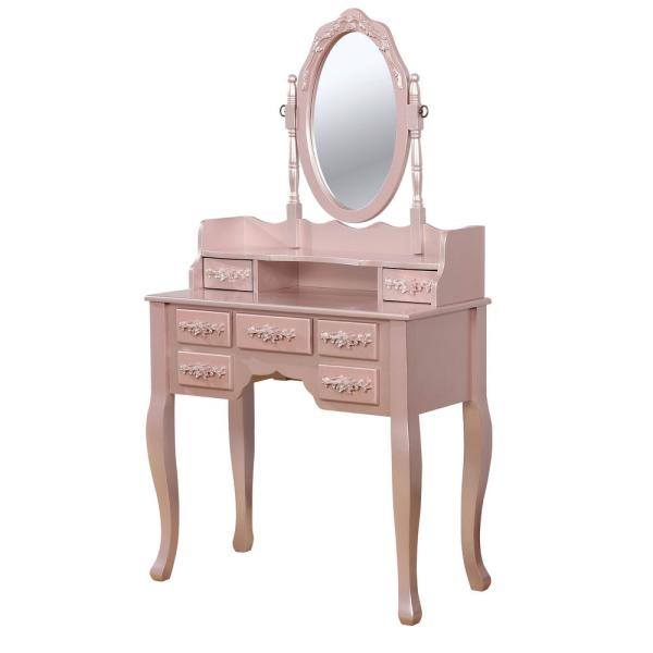 Harriet Rose Gold Vanity Table With 1 Padded Stool And 7 Storage Drawers