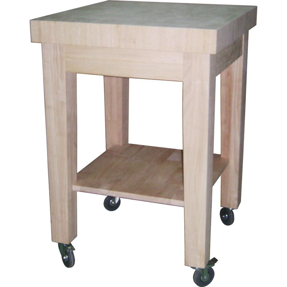 international concepts unfinished kitchen cart with butcher block rh homedepot com folding kitchen cart butcher block top kitchen butcher block cart plans