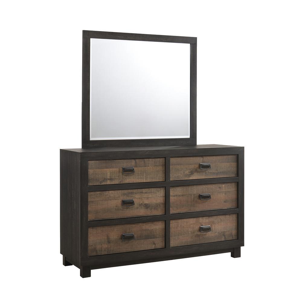 Harrison 6-Drawer Walnut Dresser with Mirror