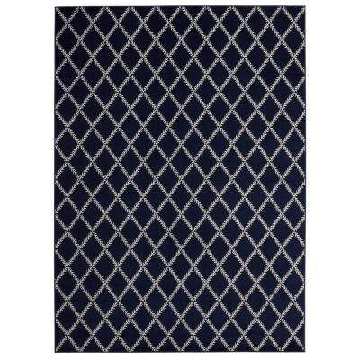 Jasmin Collection Navy and Ivory 5 ft. 3 in. x 7 ft. 3 in. Stripes Area Rug