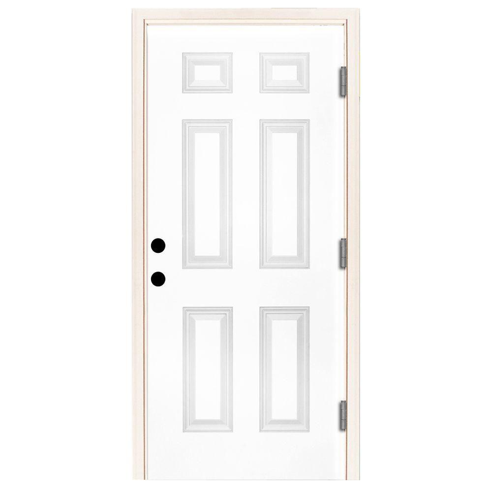 Steves & Sons 36 in. x 80 in. Premium 6-Panel Primed White Steel Prehung Front Door with 36 in. Left-Hand Outswing and 6 in. Wall