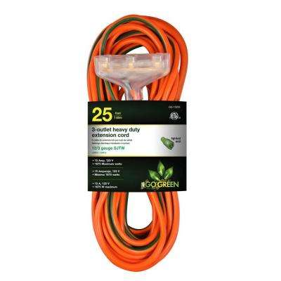 25 ft. 3-Outlet 12/3 Heavy Duty Extension Cord - Orange