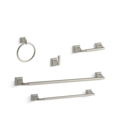 Kallan 5-Piece Bathroom Hardware Set in Vibrant Brushed Nickel