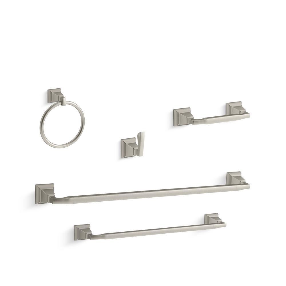Kallan 5-Piece Bathroom Hardware Set in Vibrant Brushed Nickel