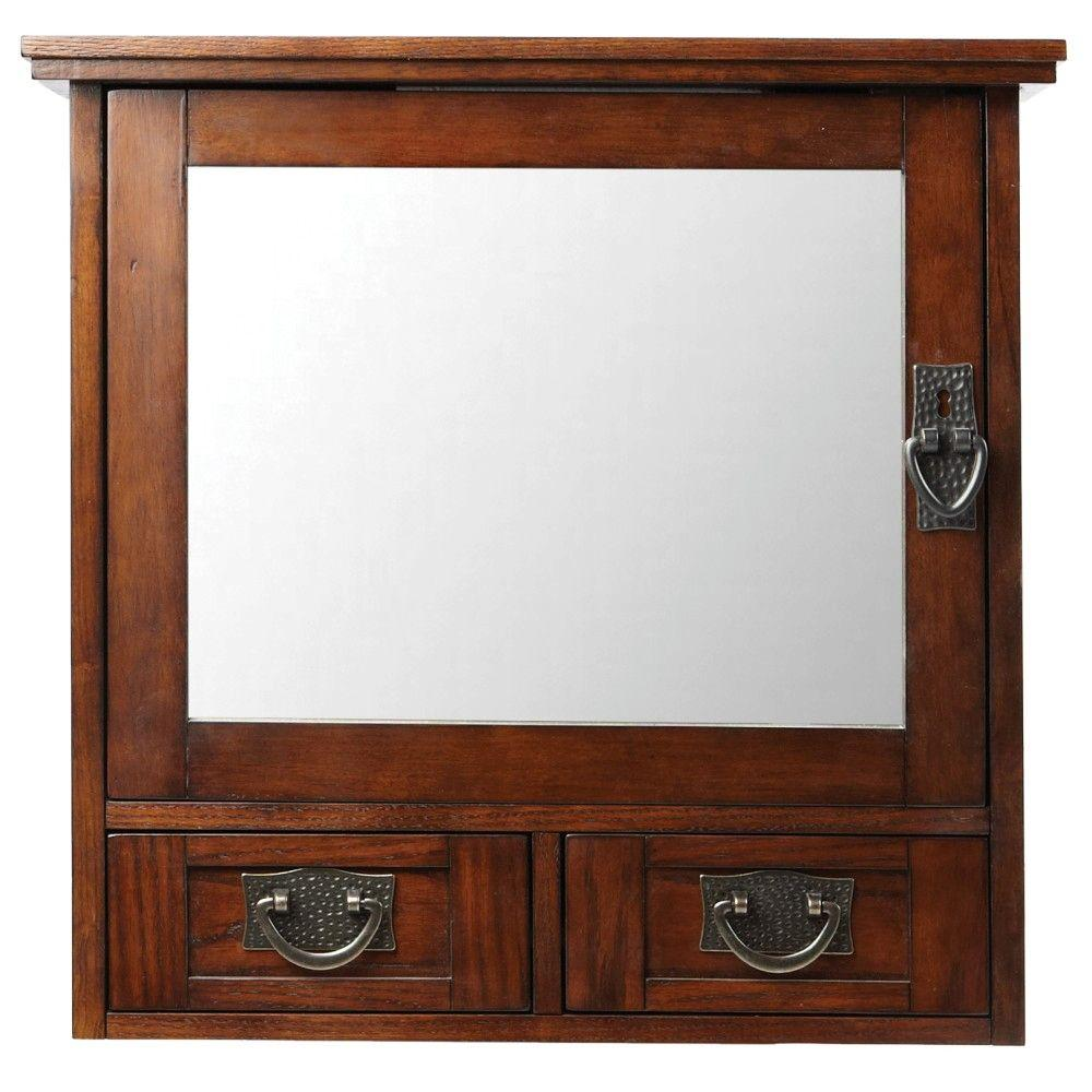 home decorators collection artisan in w x in h x 8 in d bathroom storage wall cabinet with mirror in dark the home depot