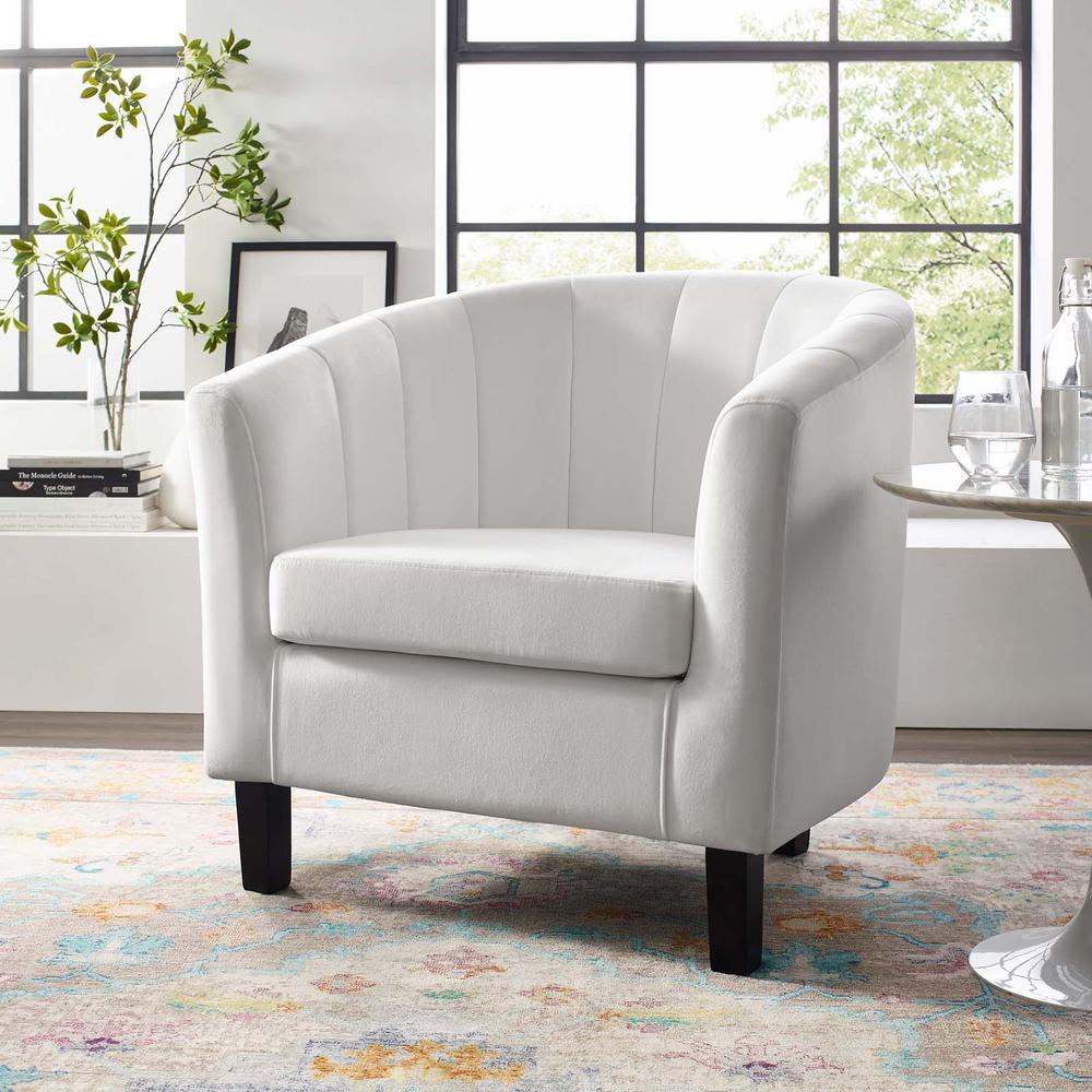 Prospect White Channel Tufted Upholstered Velvet Arm Chair