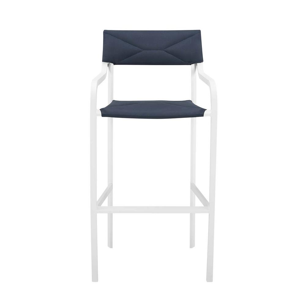Groovy Modway Raleigh Stackable Aluminum Outdoor Bar Stool In White With Navy Cushion Machost Co Dining Chair Design Ideas Machostcouk