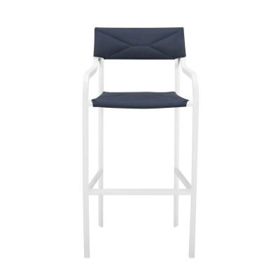 Raleigh Stackable Aluminum Outdoor Bar Stool in White with Navy Cushion