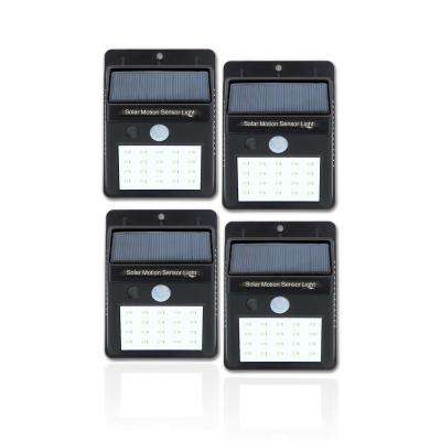 20-Light Black Motion Activated Integrated LED Wall Pack Light (4-Pack)