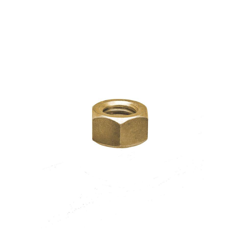 1/4 in. Hex Nuts Gold Galvanized (Case of 10 (10-Pack))