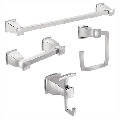 Hensley Press and Mark 4-Piece Bath Set with 24 in. Towel Bar, Towel Ring, Paper Holder and Robe Hook in Chrome