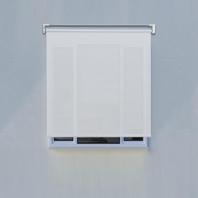 White Cordless PVC Solar Exterior Roller Shade 96 in. W x 66 in. L