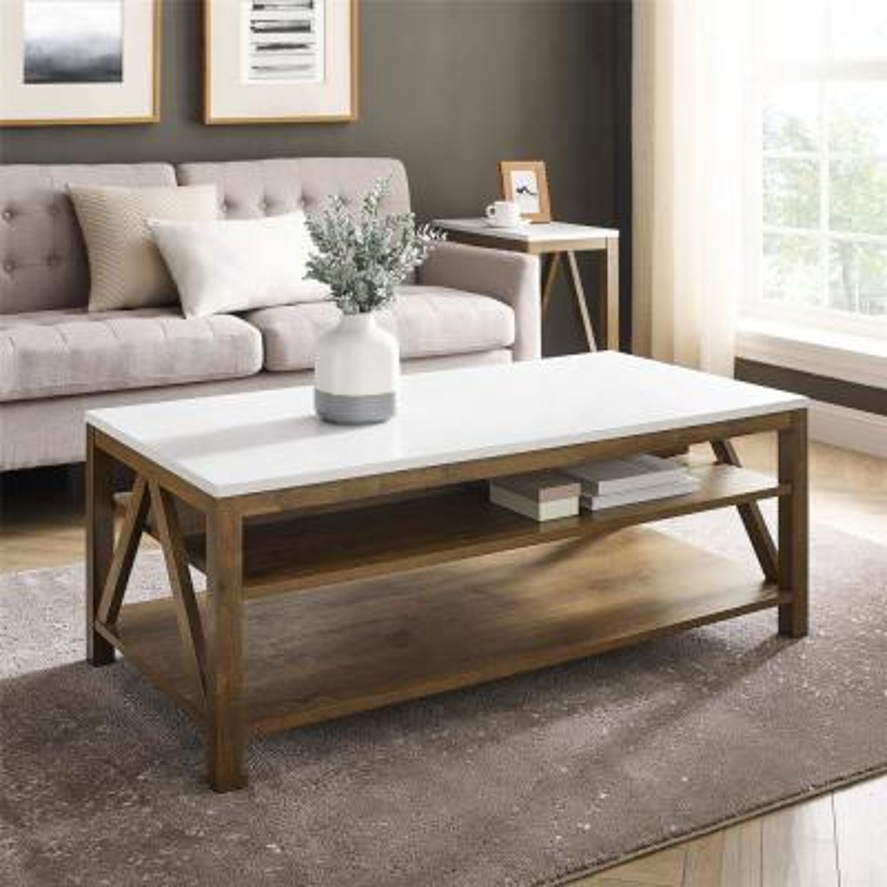 "48"" A Frame Farmhouse Coffee Table - Faux White Marble/Natural Walnut"