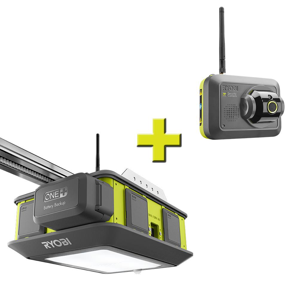 RYOBI Ultra-Quiet 2 HP Belt Drive Garage Door Opener with Security Camera Accessory