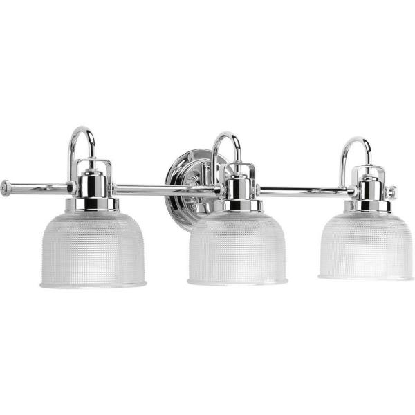 Archie Collection 26.25 in. 3-Light Chrome Bathroom Vanity Light with Glass Shades
