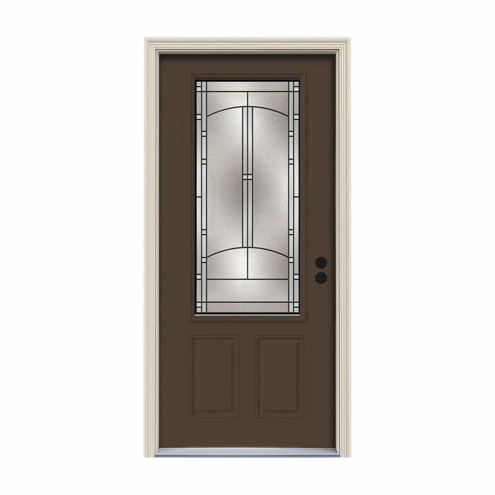JELD-WEN 34 in. x 80 in. 3/4 Lite Idlewild Dark Chocolate Painted Steel Prehung Left-Hand Inswing Front Door w/Brickmould