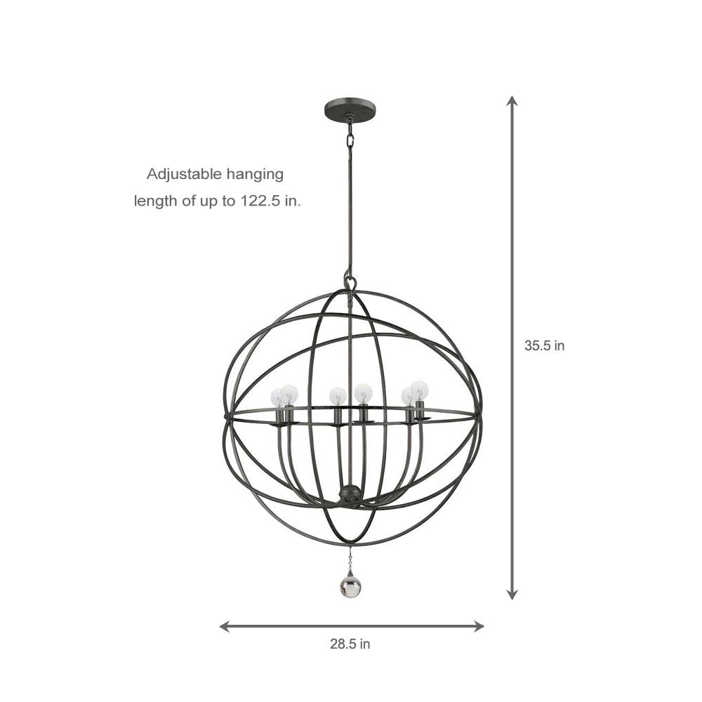 Crystorama Solaris Collection 6 Light English Bronze Orb Chandelier