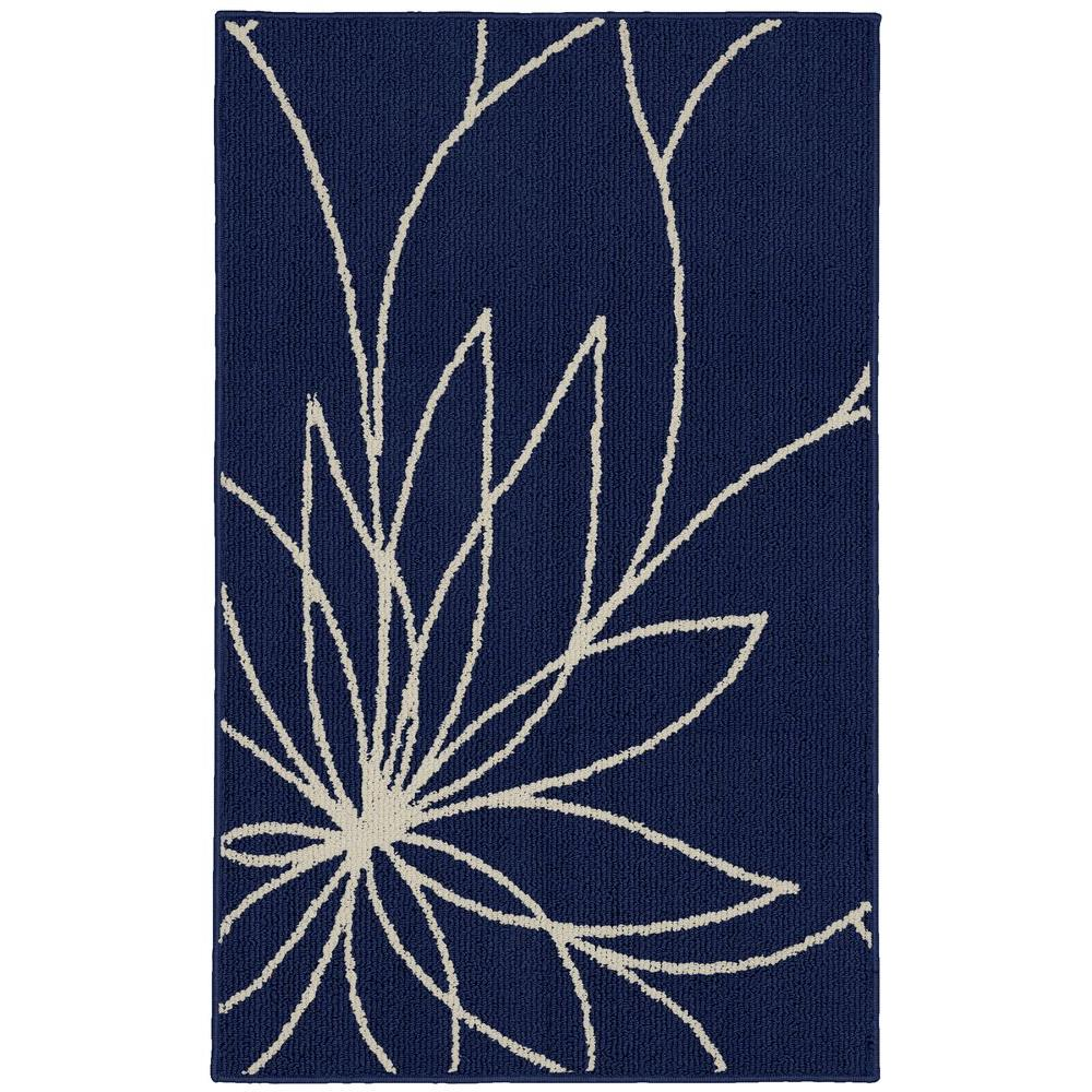 Grand Floral Indigo/Ivory 2 ft. 6 in. x 3ft. 10 in.