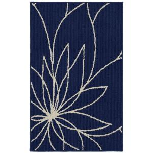 Garland Rug Grand Floral Indigo/Ivory 2 ft. 6 inch x 3ft. 10 inch Accent Rug by Garland Rug