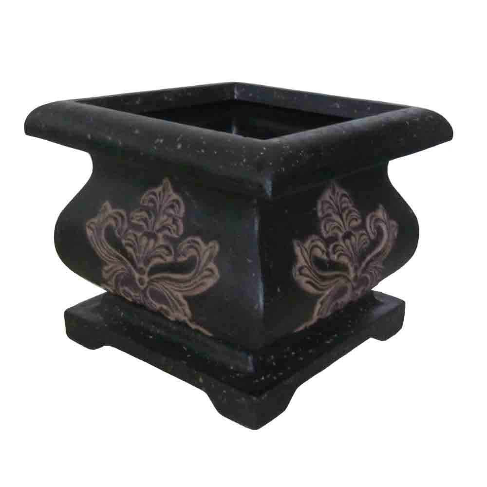 MPG 21 in. Cast Stone Square Bombe Planter in Charcoal
