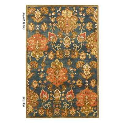 Elegant Brocade Blue/Beige 8 ft. x 11 ft. Area Rug