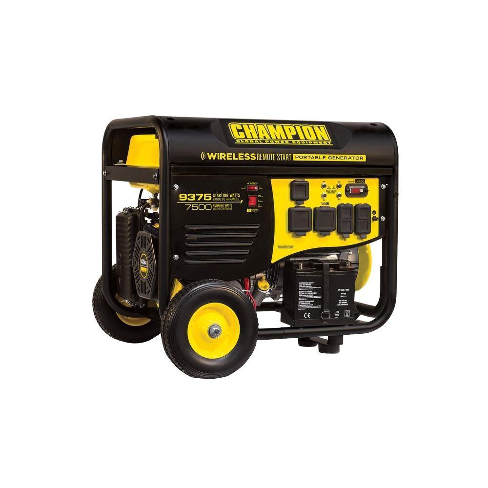 7,500-Watt Gasoline Powered Wireless Remote Start Portable Generator with Champion 439cc Engine